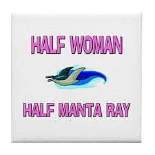 Half Woman Half Manta Ray Tile Coaster
