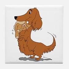 Dachshund and Bear Tile Coaster