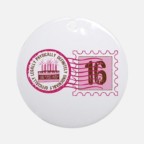 Sweet 16 Stamp Ornament (Round)
