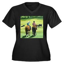 Girl Talk Women's Plus Size V-Neck Dark T-Shirt