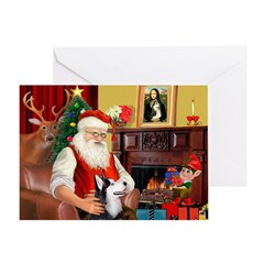 Santa's Sib Husky Greeting Card
