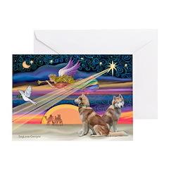 Xmas Star & 2 S Husky Greeting Card