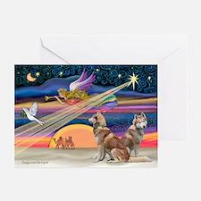 Xmas Star & 2 S Husky Greeting Cards(Pk of 20)