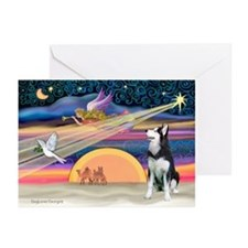 Xmas Star & S Husky Greeting Cards (Pk of 20)