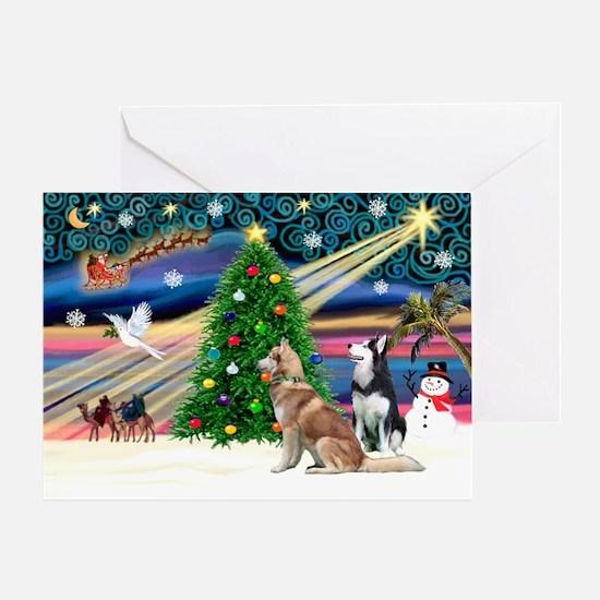 Xmas Magic & S Husky Greeting Card