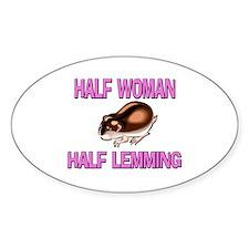 Half Woman Half Lemming Oval Decal