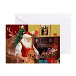 Santa's Vizsla Greeting Cards (Pk of 10)