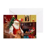 Santa's Vizsla Greeting Cards (Pk of 20)