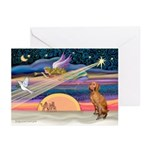 Xmas Star & Vizsla Greeting Cards (Pk of 10)