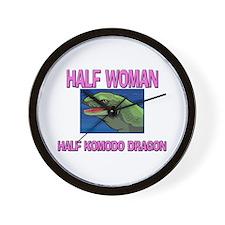 Half Woman Half Komodo Dragon Wall Clock