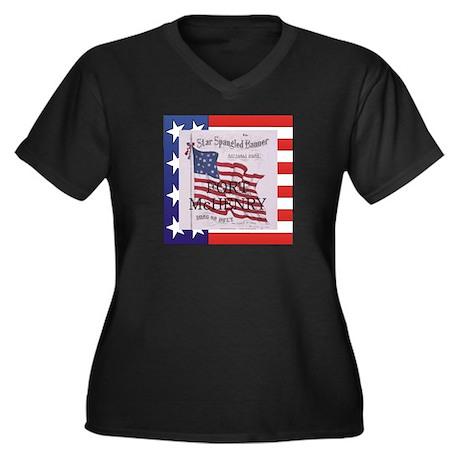 ABH Fort McH Women's Plus Size V-Neck Dark T-Shirt