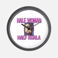 Half Woman Half Koala Wall Clock