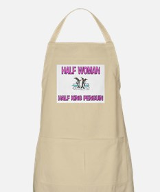 Half Woman Half King Penguin BBQ Apron
