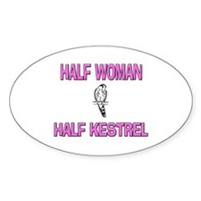 Half Woman Half Kestrel Oval Decal