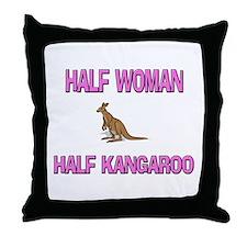 Half Woman Half Kangaroo Throw Pillow