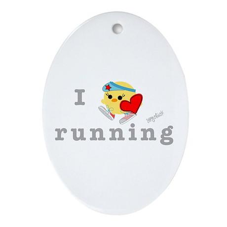 I Love Running Oval Ornament
