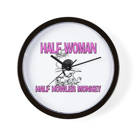 Half Woman Half Howler Monkey Wall Clock