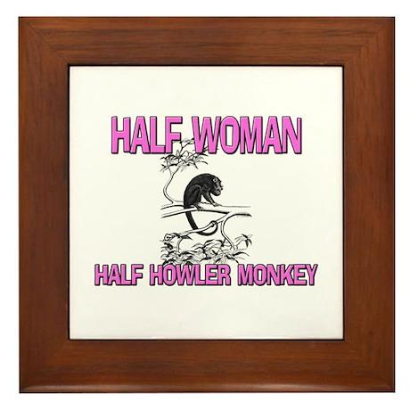 Half Woman Half Howler Monkey Framed Tile