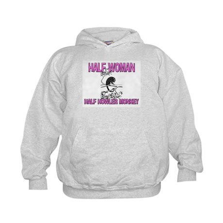 Half Woman Half Howler Monkey Kids Hoodie