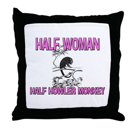 Half Woman Half Howler Monkey Throw Pillow