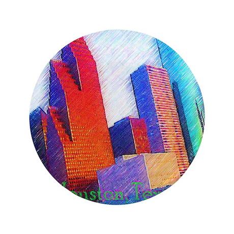 """HOUSTON, TEXAS - ART 3.5"""" Button"""