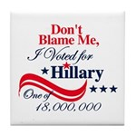 I Voted for HILLARY Tile Coaster