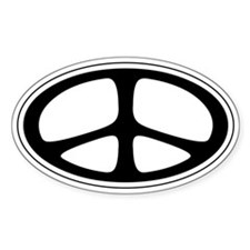 Peace Oval Sticker (Classic Black)