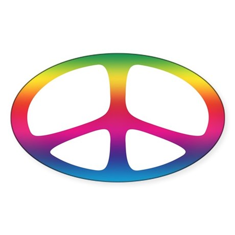 Peace Oval Sticker (Neo Spectrum)