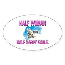 Half Woman Half Harpy Eagle Oval Decal
