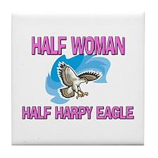 Half Woman Half Harpy Eagle Tile Coaster