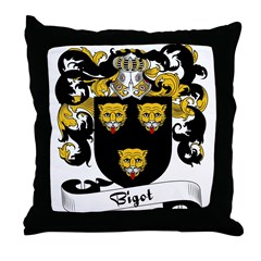 Bigot Family Crest Throw Pillow