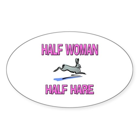 Half Woman Half Hare Oval Sticker