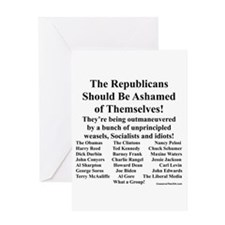 """Shame on Republicans"" Greeting Card"