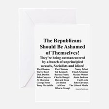 """""""Shame on Republicans"""" Greeting Card"""