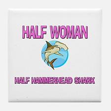 Half Woman Half Hammerhead Shark Tile Coaster