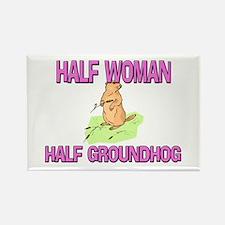 Half Woman Half Groundhog Rectangle Magnet
