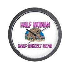 Half Woman Half Grizzly Bear Wall Clock