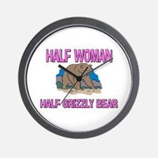 Half Woman Half Grizzly Bear Wall Clock