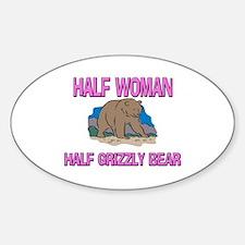Half Woman Half Grizzly Bear Oval Decal