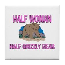 Half Woman Half Grizzly Bear Tile Coaster
