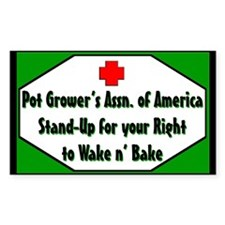 POT GROWER'S OF AMERICA LOGO Rectangle Decal