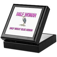 Half Woman Half Great Blue Heron Keepsake Box