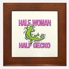 Half Woman Half Gecko Framed Tile