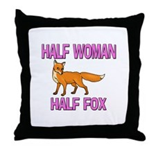 Half Woman Half Fox Throw Pillow