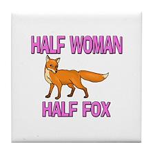 Half Woman Half Fox Tile Coaster