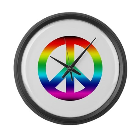 Rainbow Peace Sign Giant Clock