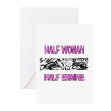 Half Woman Half Ermine Greeting Cards (Pk of 10)
