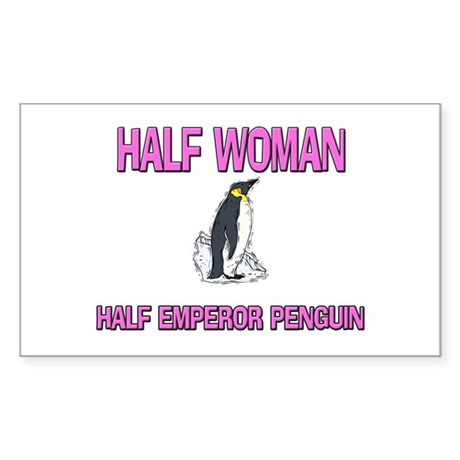 Half Woman Half Emperor Penguin Sticker (Rectangle