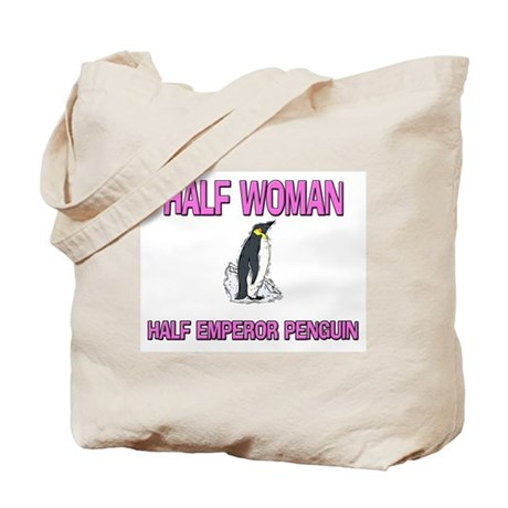 Half Woman Half Emperor Penguin Tote Bag
