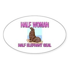 Half Woman Half Elephant Seal Oval Decal